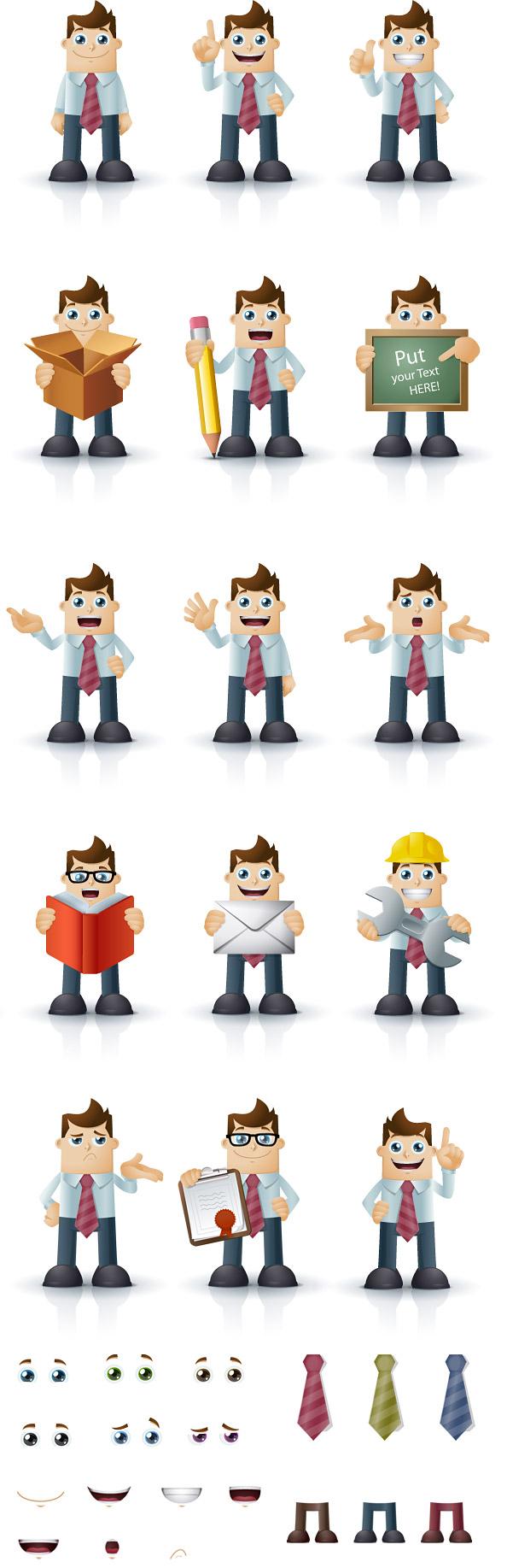 14 cartoon businessman characters vector characters