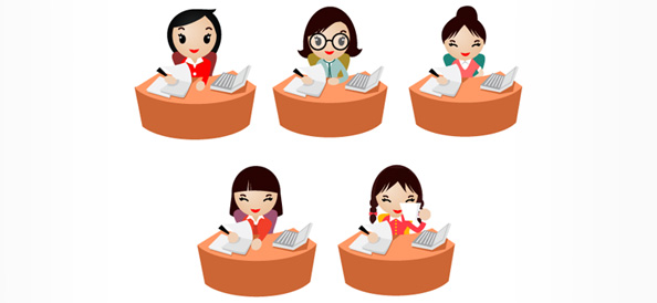 5 Women Characters working in an Office