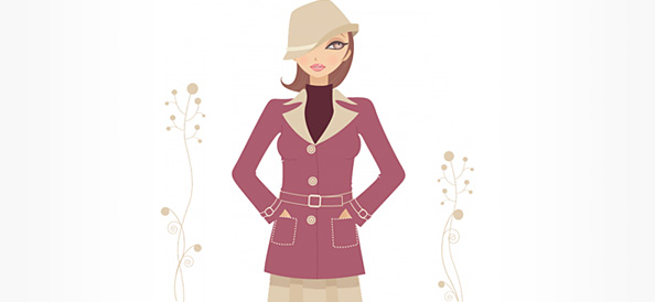 Female Vector Character Wearing Fashionable Clothes