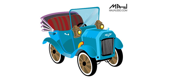 Retro Car Vector Template