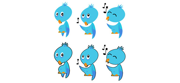 Twitter Bird Vector Icons