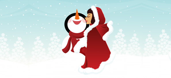 Vector Girl Illustration kissing a Snowman