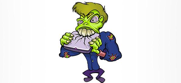 Zombie Cartoon Character destroying a Notebook