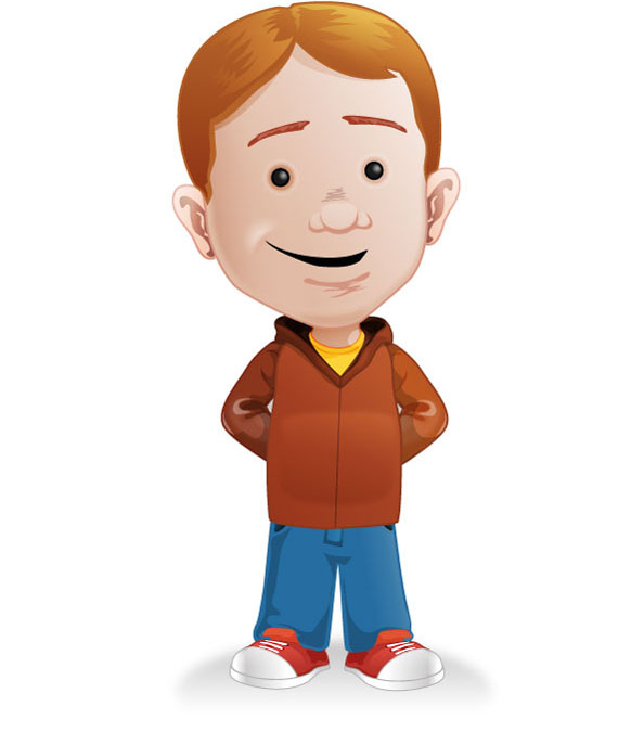 Cartoon Characters Boy : Vector character with casual clothes characters