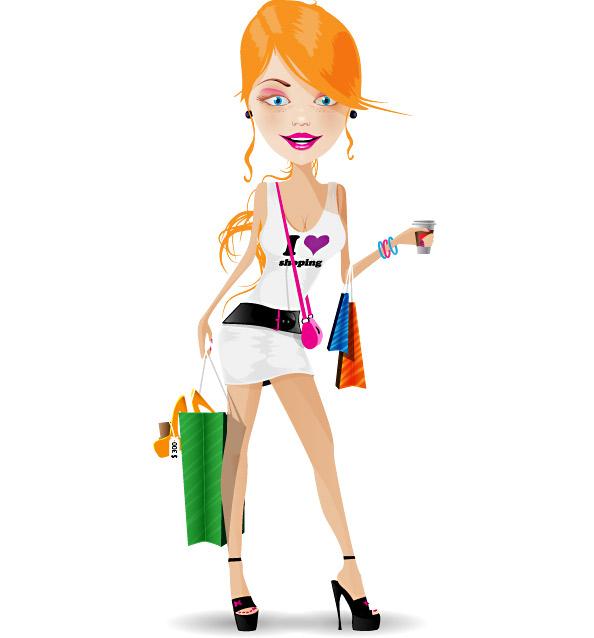 Shopping Girl Vector Character - Vector Characters