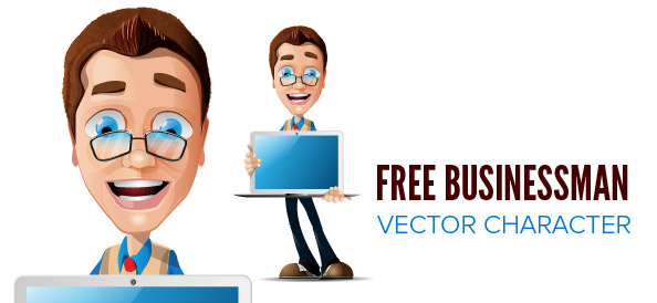 Free Businessman Vector Character with Glasses