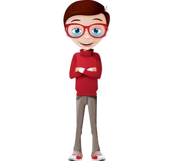 Cartoon Characters Boy : Smart boy vector character characters