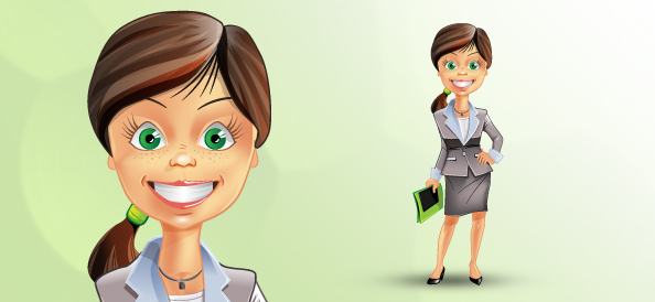 Attractive Business Woman Vector Character
