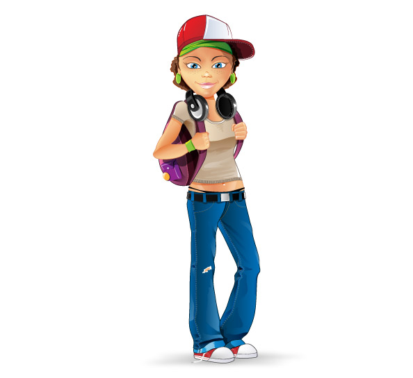 Cartoon Characters For Girls : Casual girl character vector characters