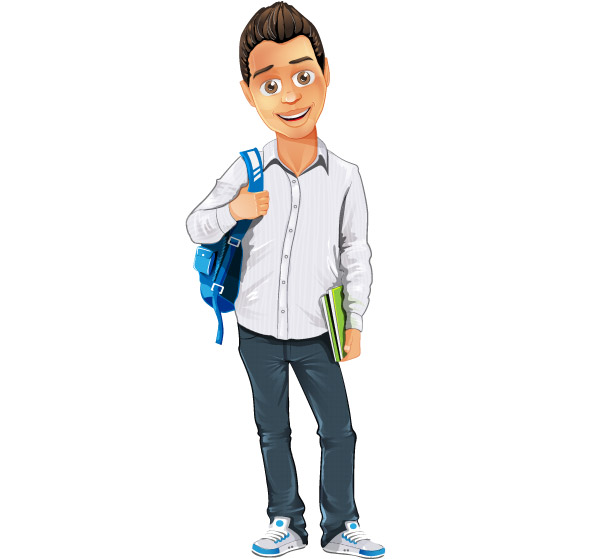 boy vector character with bag and notepad vector characters hat vector template hat vector ai