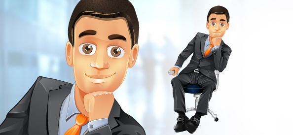 Businessman Vector Character Sitting on a Chair