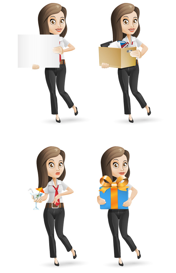 Business Woman Vector Character Set - Vector Characters