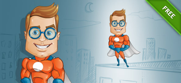 Geek Superhero Vector Character