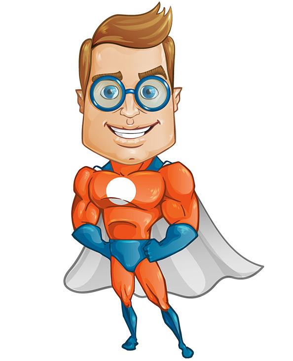 Geek Superhero Vector Character  Vector Characters