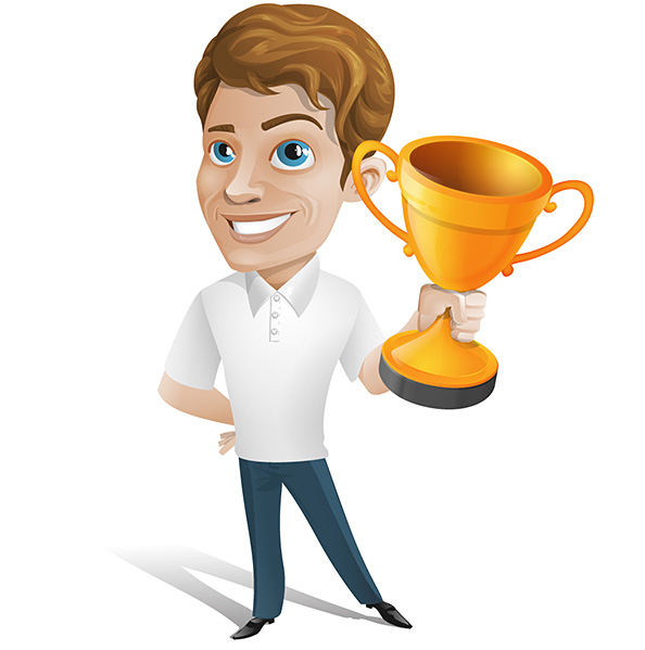 Man Vector Character Holding a Cup