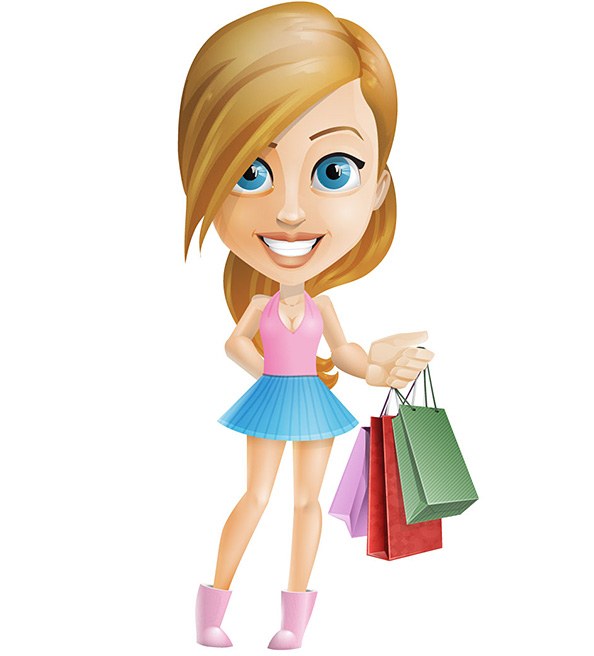 A Cartoon Character Girl : Shopping girl vector character characters