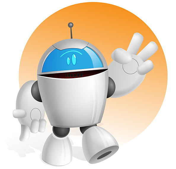 chubby robot vector character vector characters