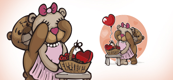 Vector Teddy Bears Illustration